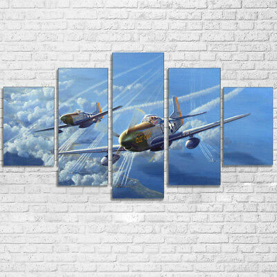 Vintage WWII Military Aircraft Poster 5 Panel Canvas Print Wall Art Home Decor