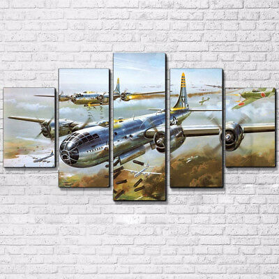 Vintage Military Aircraft Planes Poster 5 Panel Canvas Print Wall Art Home Decor