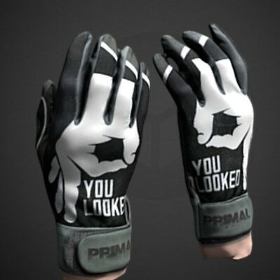 """Primal Baseball C1COOP """"YOU LOOKED""""  Baseball Batting Gloves Size Adult Small"""