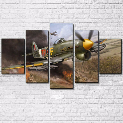 Vintage WWII Aviation Aircraft Hawker Typhoon 5 Panel Canvas Print Wall Art