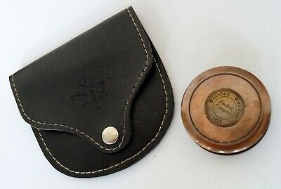 Antique Brass Maritime Stanley London Gold Pocket Compass W Leather Case Gift
