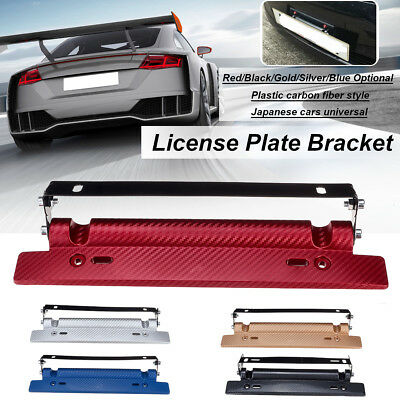 Adjustable Car Racing Carbon Fiber Number License Plate Frame Holder Bracket