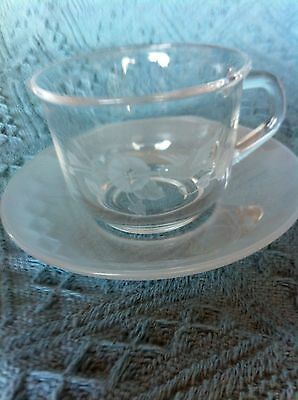 """Nos Avon 24% Full Lead Crystal Hummingbird 2 1/2"""" Cup And Saucer Set"""