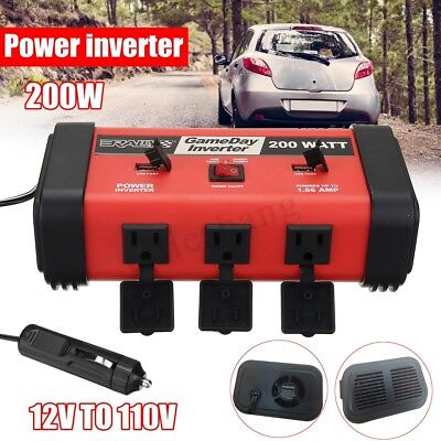 200W Car Auto Power Inverter DC 12V to AC 110V Adapter Converter USB Charger AU