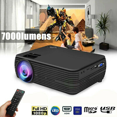 4K HD 1080P LED Projector Home Theater 7000 Lumen USB VGA new AU