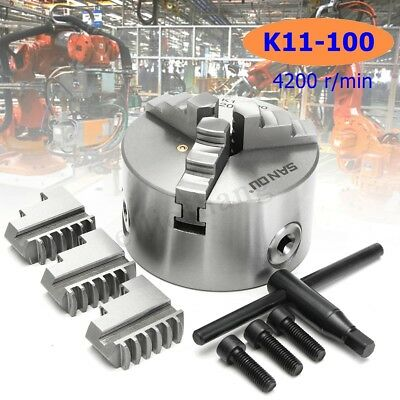 SANOU K11-100 3 Jaw Lathe Chuck 100mm Self Centering for Drilling Milling Tool
