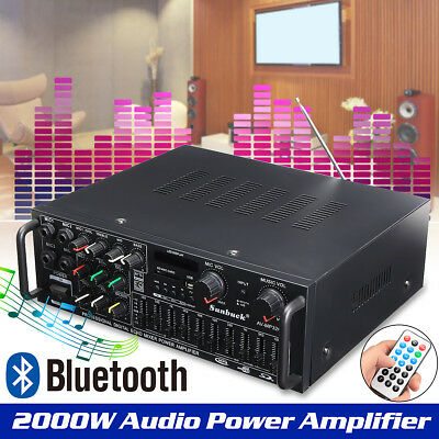 2000W Bluetooth Hi-Fi Power Amplifier Digital LCD Stereo Surround Home Karaoke