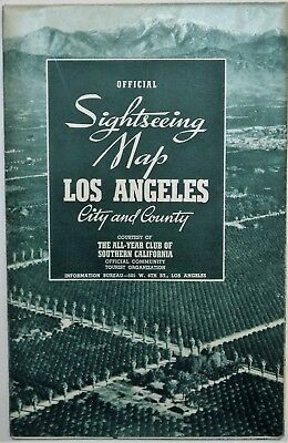 Sightseeing Map Los Angeles City County The All-Year Club Of Southern California
