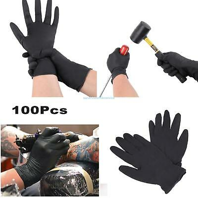 100PCS Disposable Mechanic Gloves Black Nitrile Gloves Tattoo Glove Silicone #T