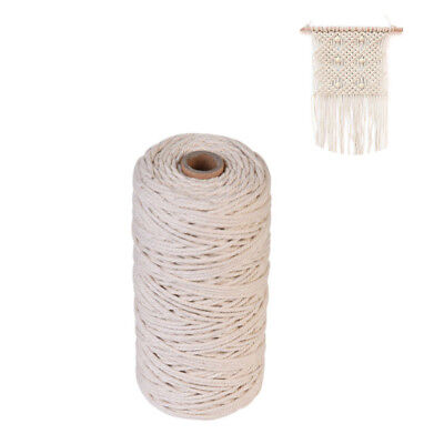 3mm 100% Natural Beige Cotton Twisted Cord Craft Macrame Artisan String SH