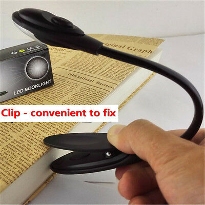 Portable Travel Flexible Neck LED Clamp Clip-On Reading Book Light Lamp SH