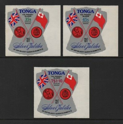Tonga 1977 Officials - Airmail Silver Jubilee Set Of 3 *vf Mnh*