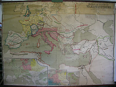 Schulwandkarte Europa Germanic Hike Nations Rome Map 212x154cm Vintage~1920