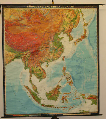 Schulwandkarte Map South-East Asia China Japan Vietnam 197x224cm 1968 Vintage