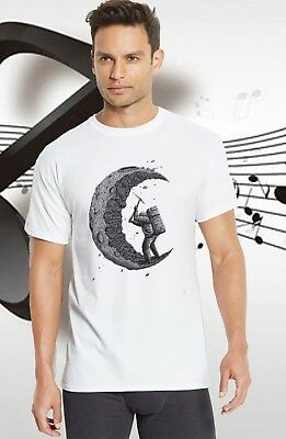Digging the moon T-Shirt Men's Customized Printed Funny Cotton Short Graphic Tee