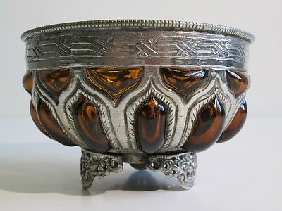 Vintage Jar Eastern In The Cage Silver Plated With Glass Blown Amber