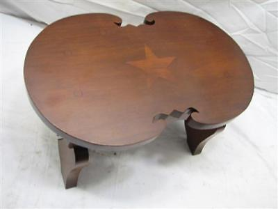 Antique Fiddle Top Wooden Stool Inlaid Star Foot Rest Decor Bench