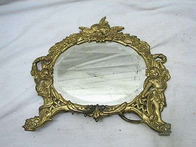 Ornate Victorian Cast Iron Brass Finish Cherub Mirror Picture Frame Stand Up