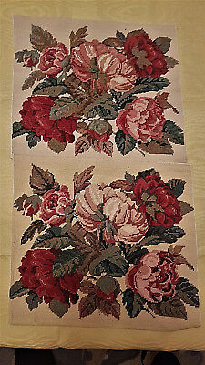 """David Merry Blooming Roses pair completed tapestries 14.5"""" x 13"""""""