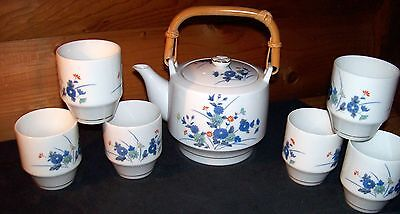 VTG Signed.Porcelain Otagiri OMC Flower Gold Trim 7 Piece Saki/ Tea Set.Japan