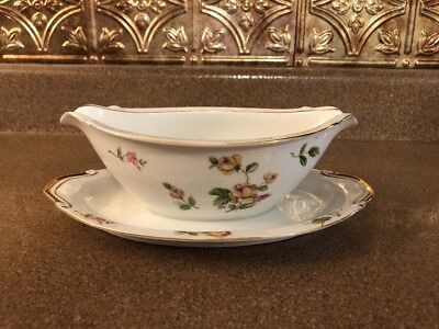 Lynmore Fine China Japan  Golden Rose Gravy Boat With Under Plate