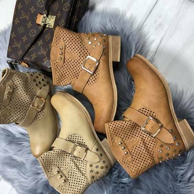 New Ladies Womens Autumn Spring Ankle Biker Casual Buckle Boots Low Heel Shoes