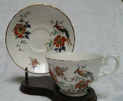 Vtg Crown Staffordshire Footed Cup & Saucer Birds of Paradise B921 England VGUC