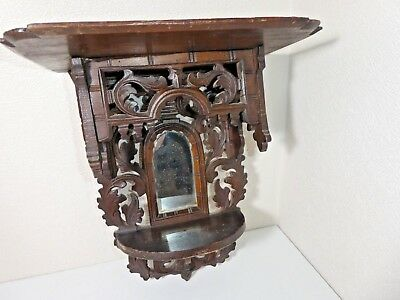 Antique Hand Carved Gothic Style Wooden Wall Shelf And Mirror