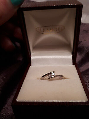 53f275c0e H Samuel 9 Ct White Gold Engagement Ring 2 Diamonds Size N To O