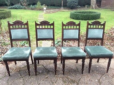 Four Edwardian dining chairs for re-upholstery