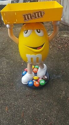 "Yellow M&M's 46"" Candy Store Display Figure on Wheels w/Tray good used conditio"