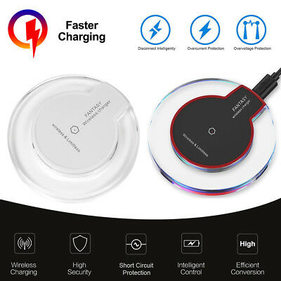 Qi Wireless Charger Slim Pad Ultrathin Fast Charging For iPhone X 8 S9 Plus BS
