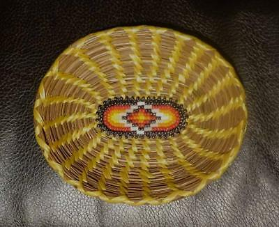 Vintage Native American Cherokee Indian Signed Pine Needle/beaded Basket