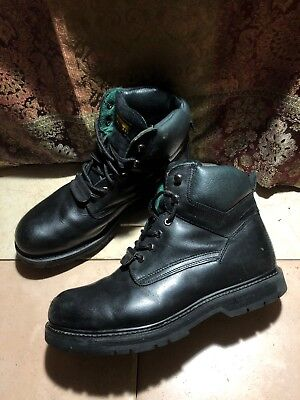 296cd2030f7 WOLVERINE VINTAGE BLACK Leather ANSI Z41 PT91 Steel Toe Work Boots Size 12  US