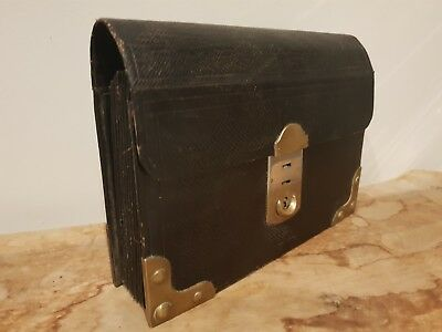 "c19th Century ""August Klein"" FRENCH Large Leather and Brass Document Wallet"