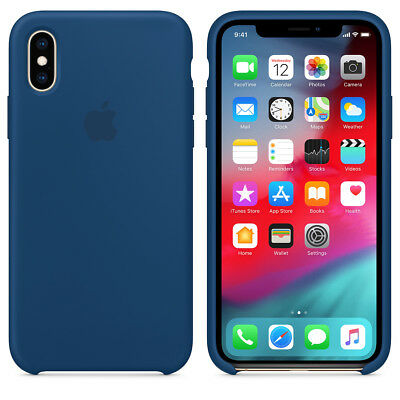 Apple Custodia Cover Per Iphone Xs Silicone Case Originale Blue Horizon Blu