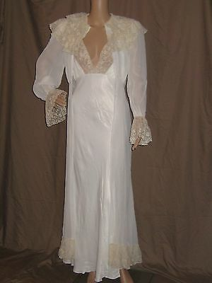 Vintage 1930s Night Gown Sheer Dress Robe Peignoir Silk Satin Bias Cut Has Flaws