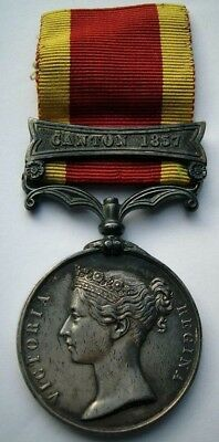 Victorian silver 2nd China Opium War medal battle clasp Canton 1857 unnamed RN