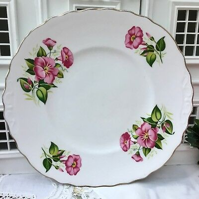 ROYAL VALE 1950s CAKE SERVING PLATE - PINK FLORAL GILDED BONE CHINA