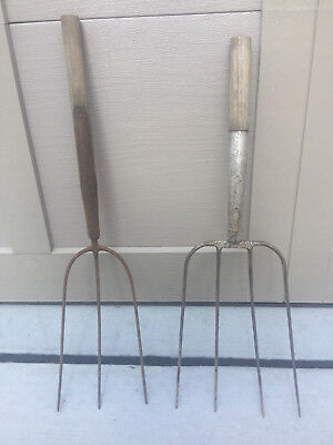 (2) Old Vintage Primitive Metal 3 & 4 Prong Hay Pitchfork Heads Farm Garden Tool