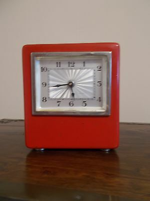 Art Deco - Bauhaus Red Clock HKS With Cashbox, German
