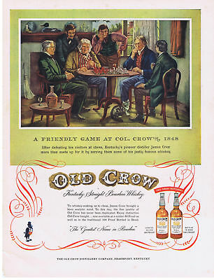 1954 Old Crow Whisky CHESS game at James Crow home 1848 scene Print Ad