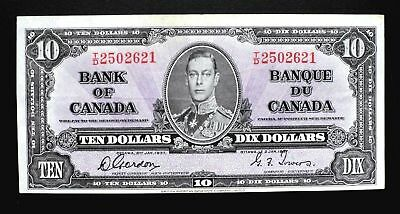 1937 BANK OF CANADA $10 DOLLARS  **Gordon & Towers**  T/D 2502621  BC-24b