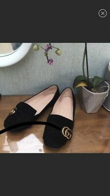 85ee6f71f53 GUCCI MARMONT FRINGE Black Suede Ballerina Flats Shoes 37.5 ...