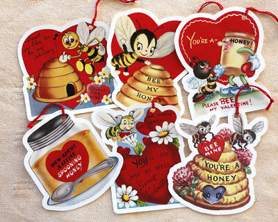 Valentine Tags~6 Gift/Hang Tags~Bees & Honey~Vintage Card Images~Paper ornaments