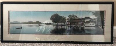 Antique Chinese Silk Embroidery Hangzhou West Lake 1930s museum piece