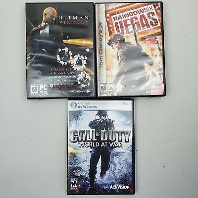 Lot of 3 PC Games Call of Duty World At War Hitman Trilogy Rainbow Six Vegas