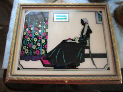 Vtg Art Deco WHISTLER'S MOTHER Reverse Painted Mirror Jewelry Box  COLOR Nice!