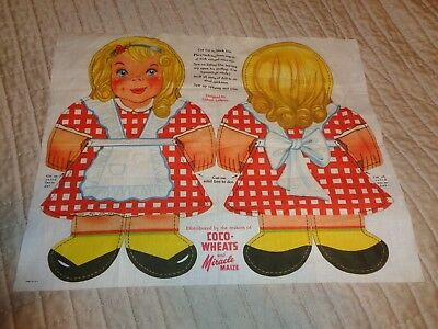 NEW Rare Gretchen Vintage CoCo Wheats/Miracle Maize Sewn Rag Doll 1949 MINT Cond