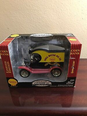 1999 Gearbox Shell 1912 Ford Model T Delivery Truck Coin Bank! Nib! 1:24 #76527